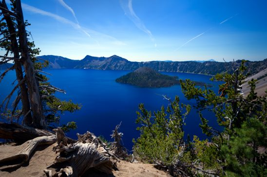 Crater Lake National Park & Wizard Island Stock Photo