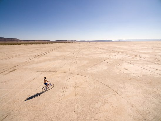 Alvord Desert Biker Stock Photo