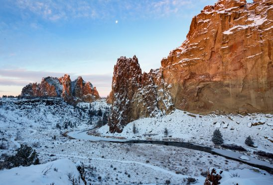Smith Rock Winter Bend Oregon Stock Skyler Hughes