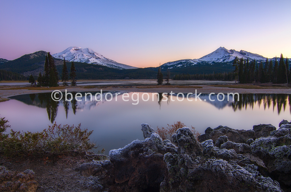 Sparks Lake Sunrise Bend Oregon Stock Photography